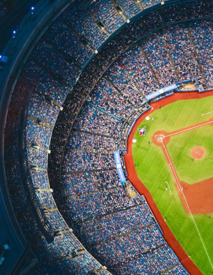 Aerial picture of a baseball stadium