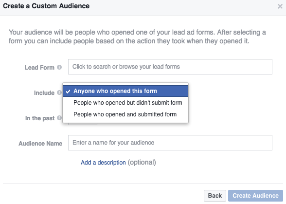 screenshot of the facebook lead ad remarketing option